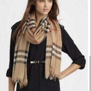 Burberry Womens Beige Gauze Wool Silk Fringe Nova Check Shawl Scarf Size Large
